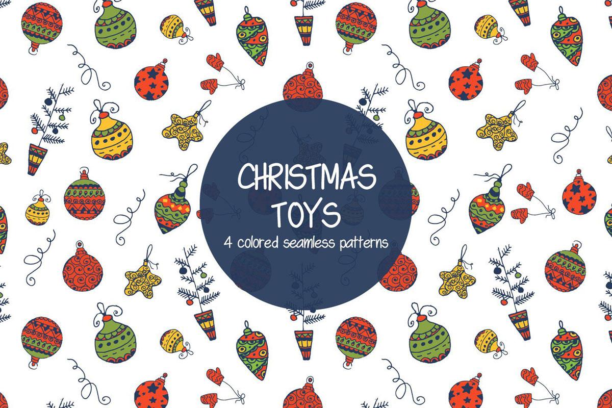 Free Christmas Toys Illustration Vector Pattern