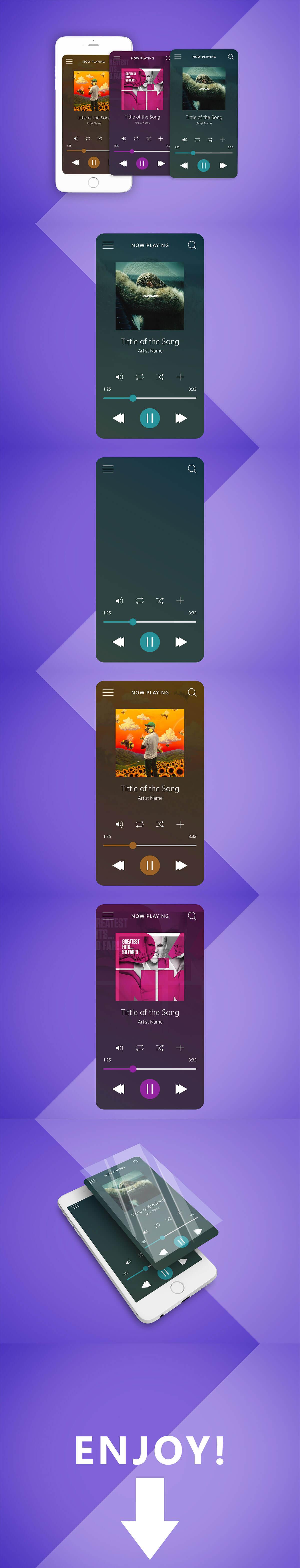 Free Music Player Interface UI Mockup ~ Creativetacos