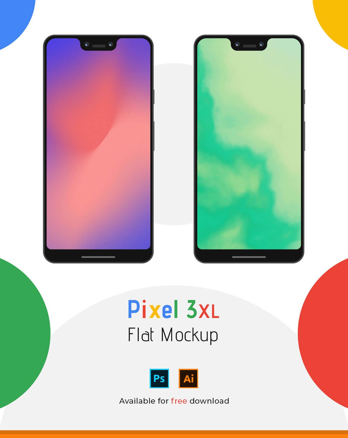 Free Pixel 3 XL Flat Mockup