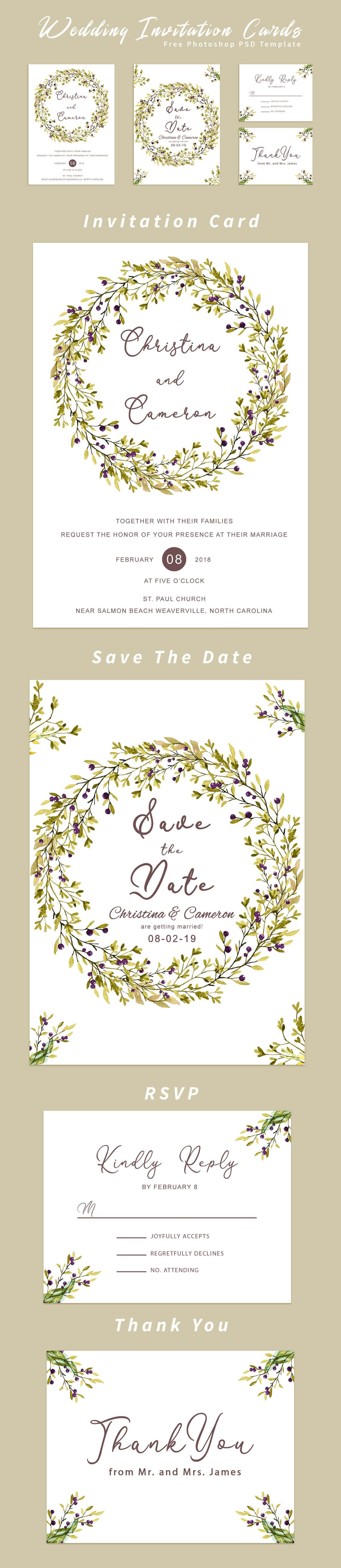 Free Wedding Invitation Card Template ~ Creativetacos