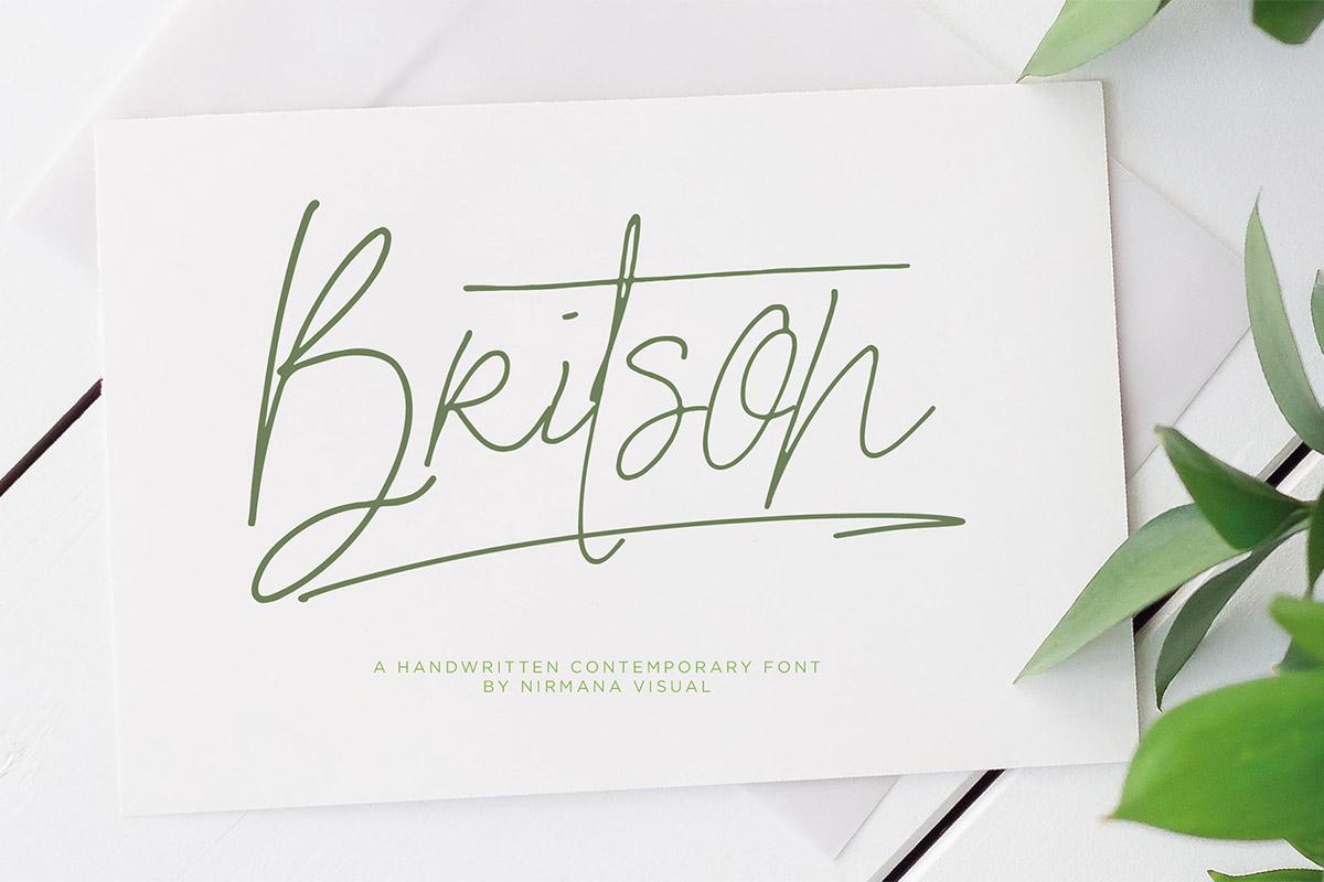 Free Britson Handwritten Font