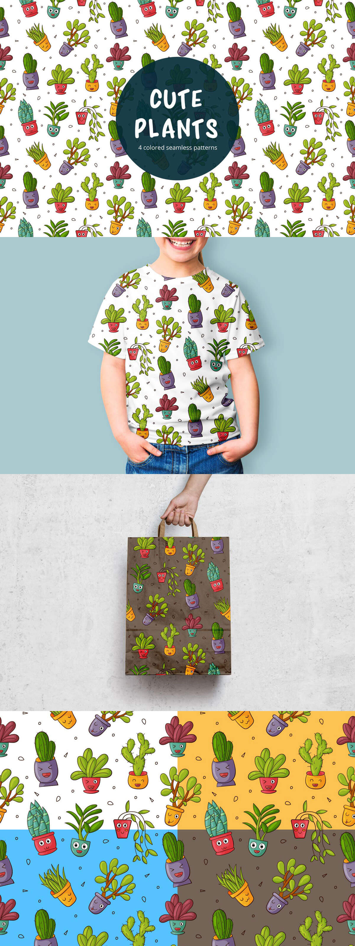 Free Cute Plants Vector Seamless Pattern