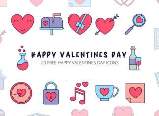 Free Happy Valentines Day Vector Icon Set