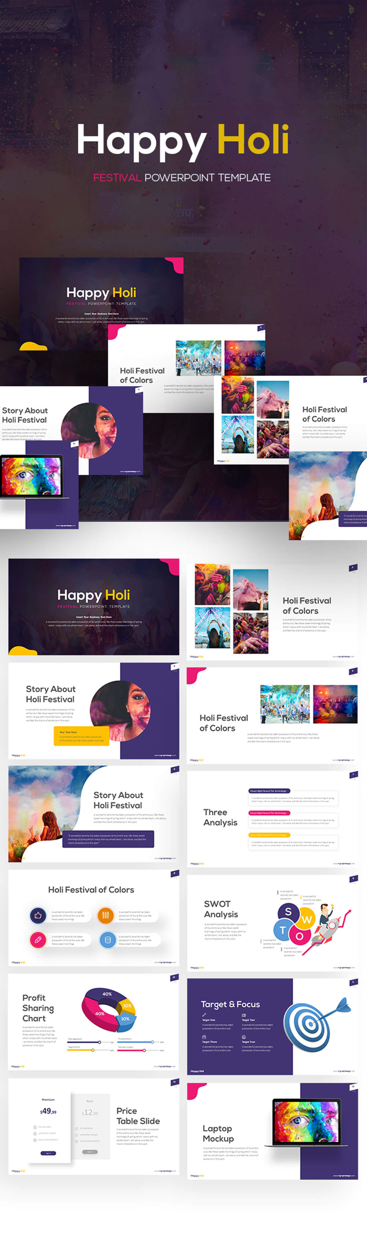 Free Happy Holi Powerpoint Template
