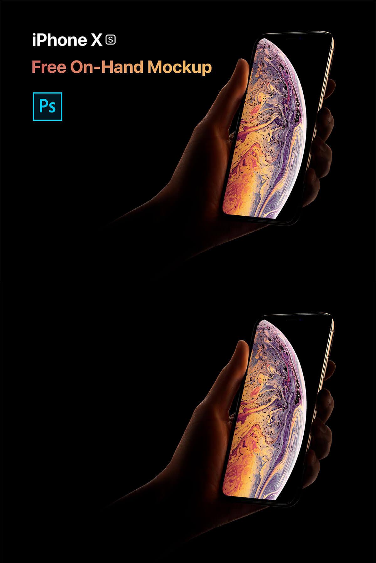 Free iPhone XS On Hand Mockup