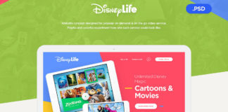 Free Disney Life Website PSD Template