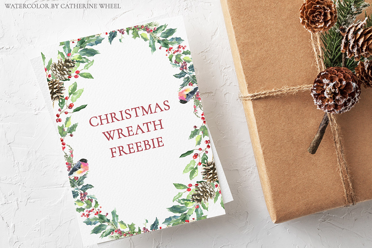 Free Christmas Watercolor Wreath