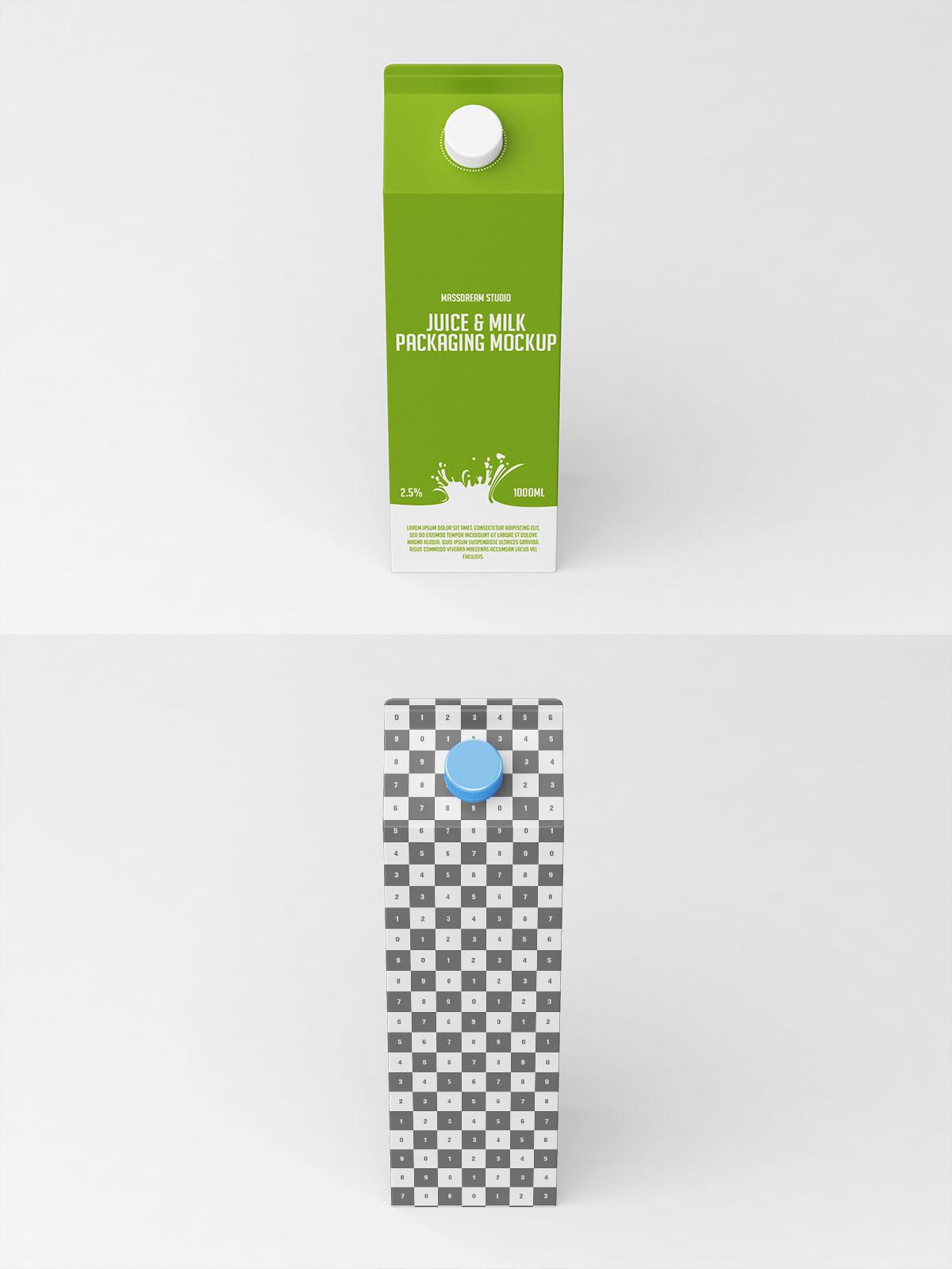Free Juice Milk Packaging Mockup