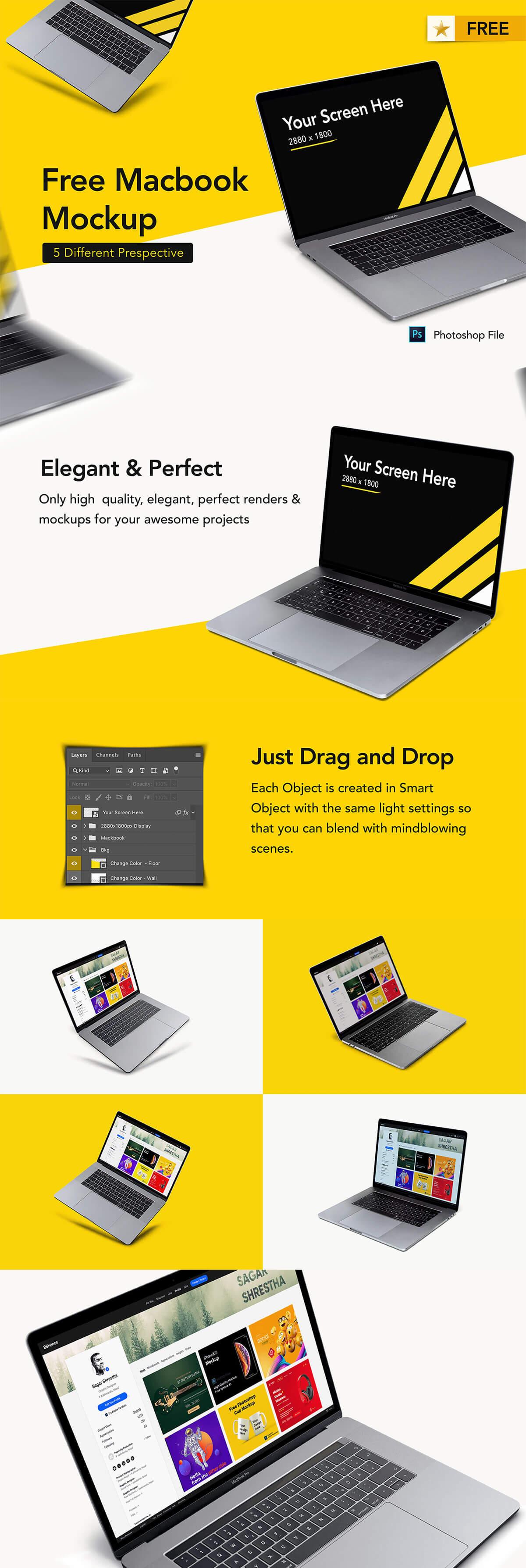Free Macbook Set Mockup