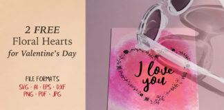 Free Floral Valentine's Day Hearts