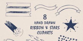 Free Handmade Ribbon & Stars Cliparts