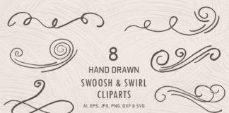 Free Handmade Swoosh & Swirl Cliparts