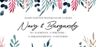 Free Navy Burgundy Watercolor Clipart