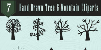 Free Handmade Tree & Mountain Cliparts