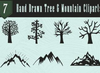 Free Handmade Tree & Mountain Cliparts