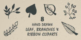 Free Leaf, Branches & Ribbon Handmade Cliparts