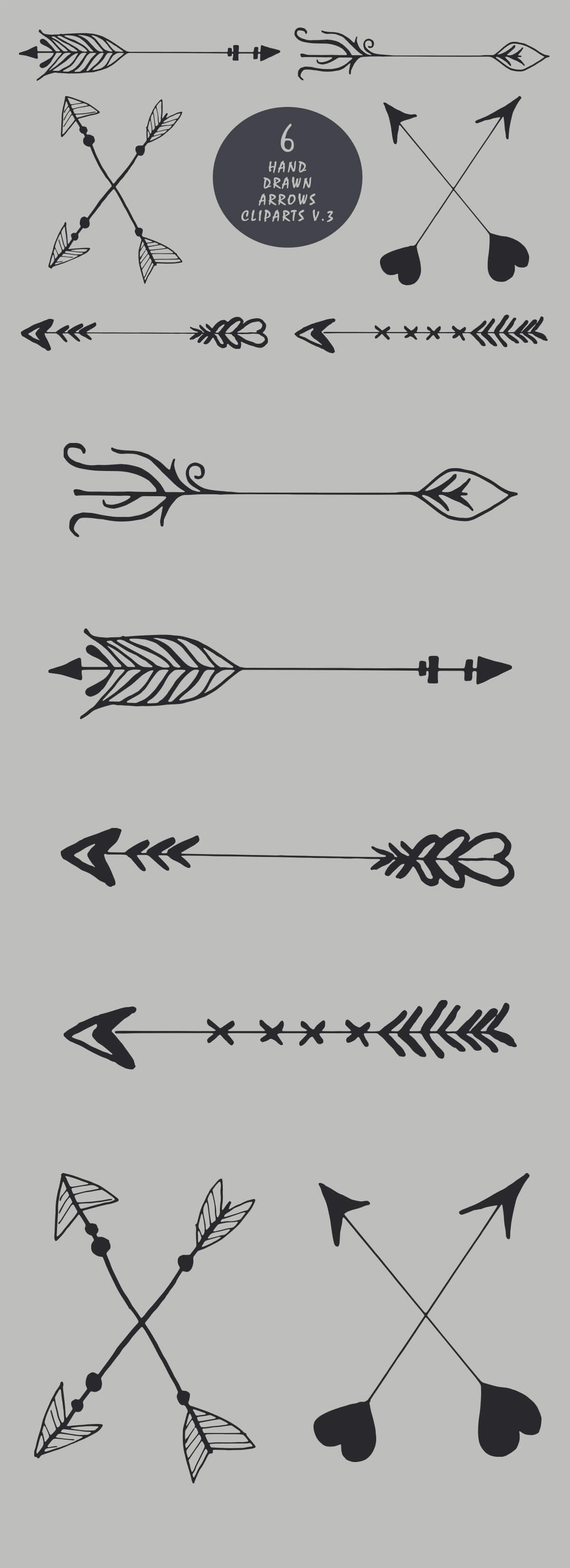 Free Handmade Arrows Cliparts V3