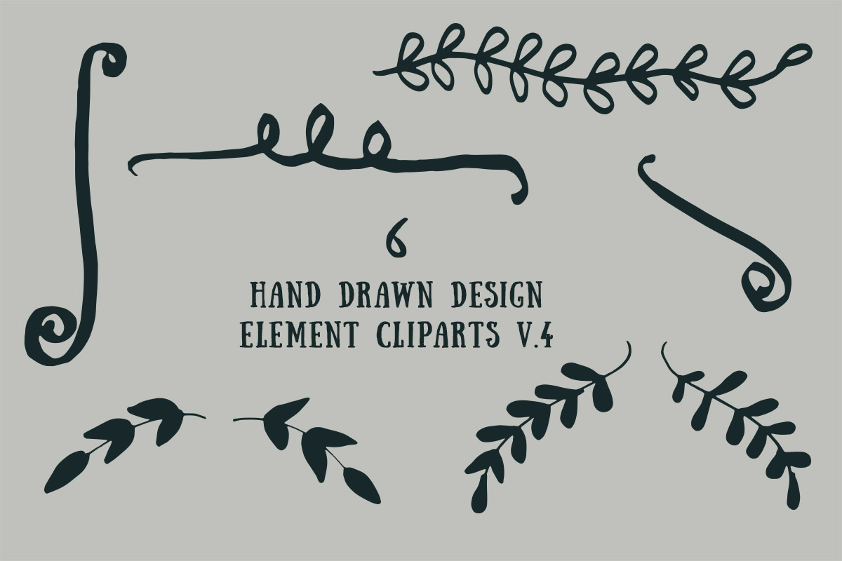 Free Handmade Design Element Cliparts V4