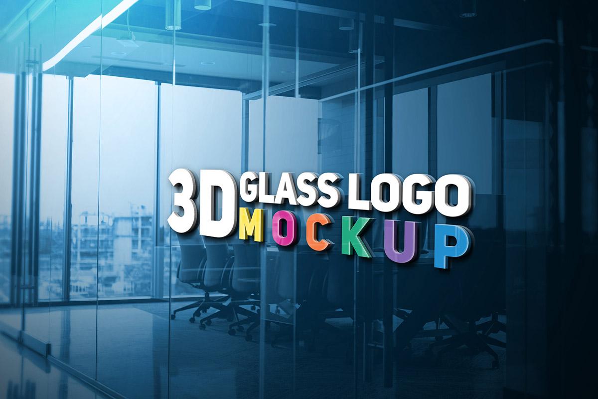 Free 3D Glass Logo Mockup