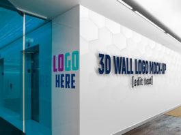 Free 3D Wall Logo Slogan Mockup