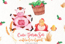 Free Cute Farm Watercolor Clipart