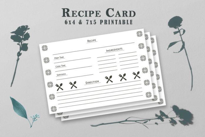 Free Recipe Card Printable Tamplate V5