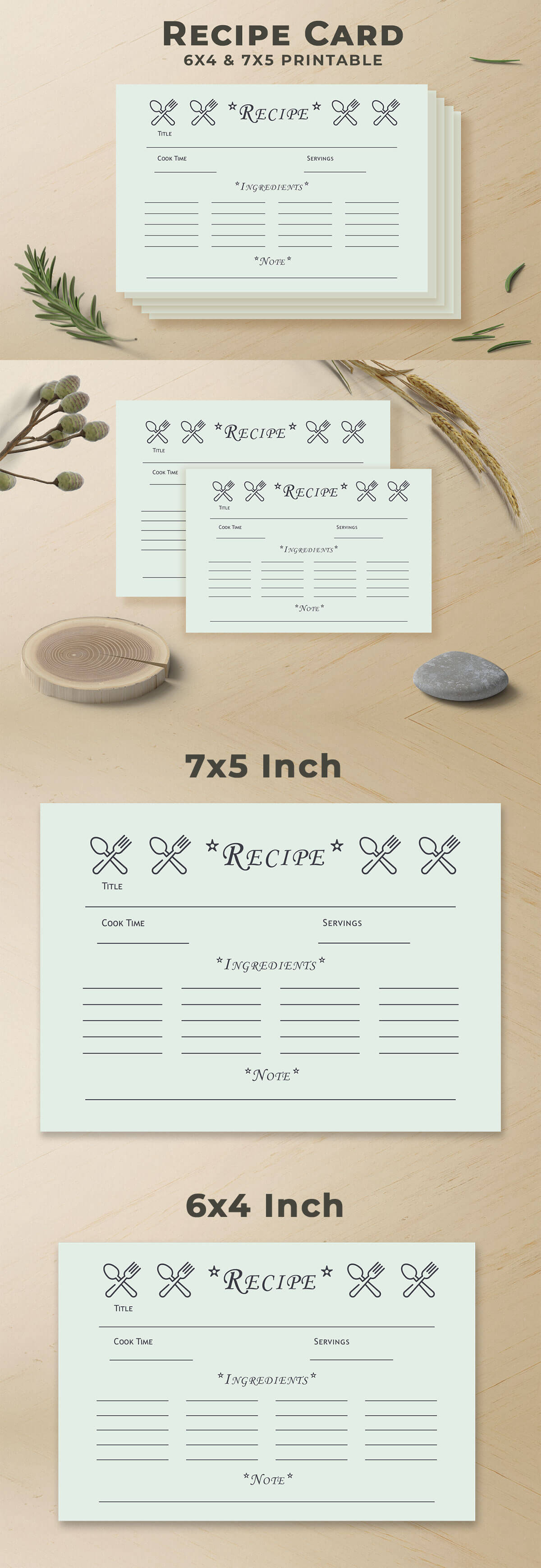 Free Recipe Card Printable Template V7