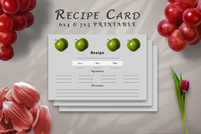 Free Recipe Card Printable Template V12