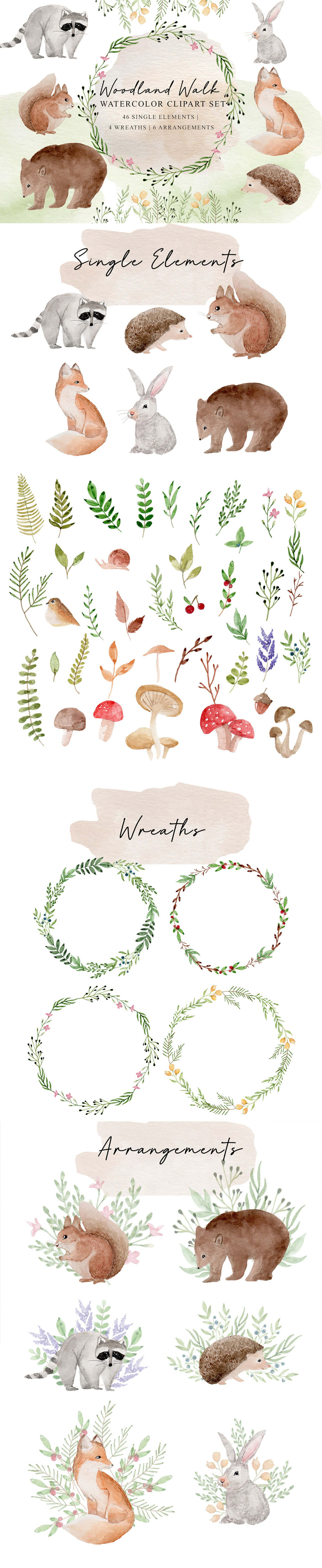 Free Woodland Walk Watercolor Clipart Set
