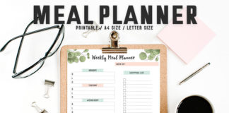 Free Girly Meal Planner Template