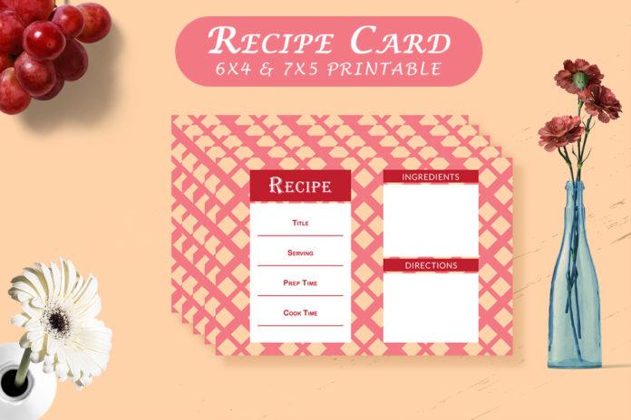 Free Recipe Card Printable Template V14
