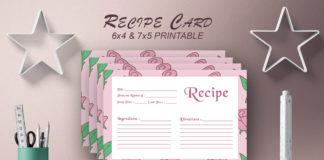Free Recipe Card Printable Template V15
