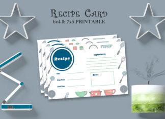 Free Recipe Card Printable Template V16