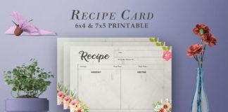 Free Recipe Card Printable Template V18