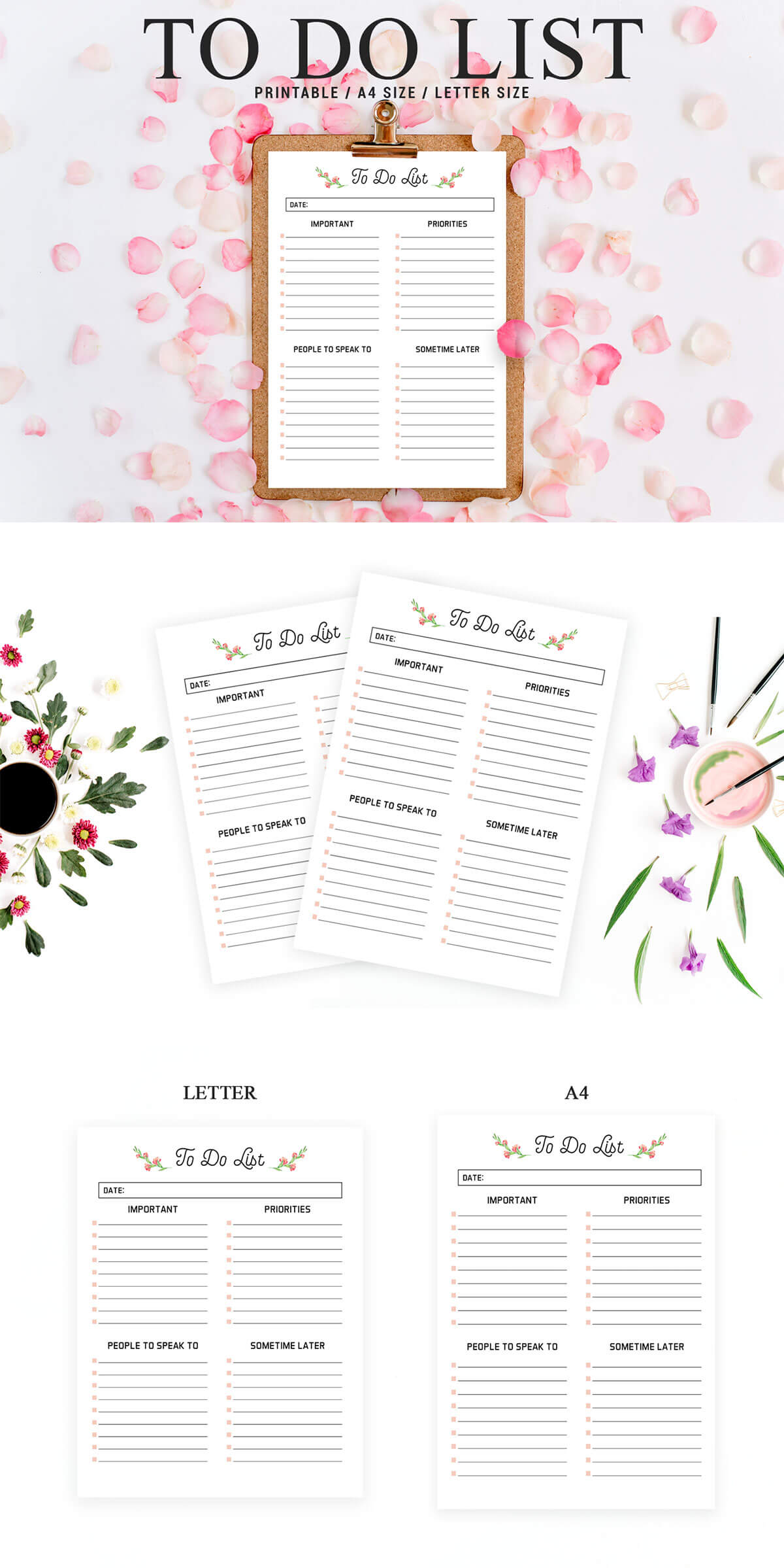 Free Floral To Do List Printable Template