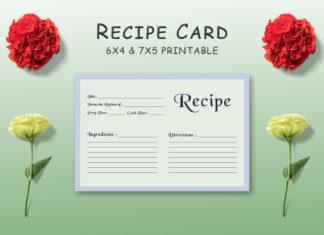 Free Pale Green Recipe Card Template