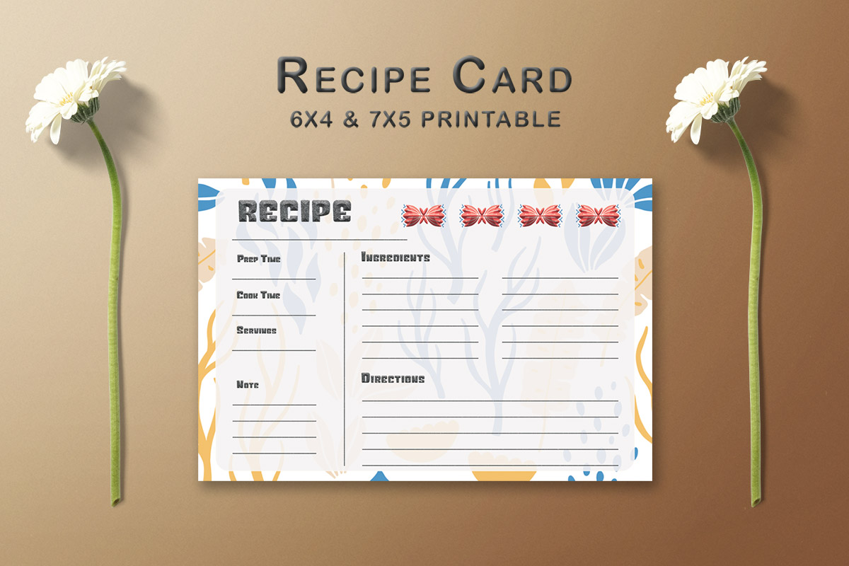 Free Decorative Pattern Recipe Card Template