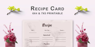Free Flower Pattern Recipe Card Template V1