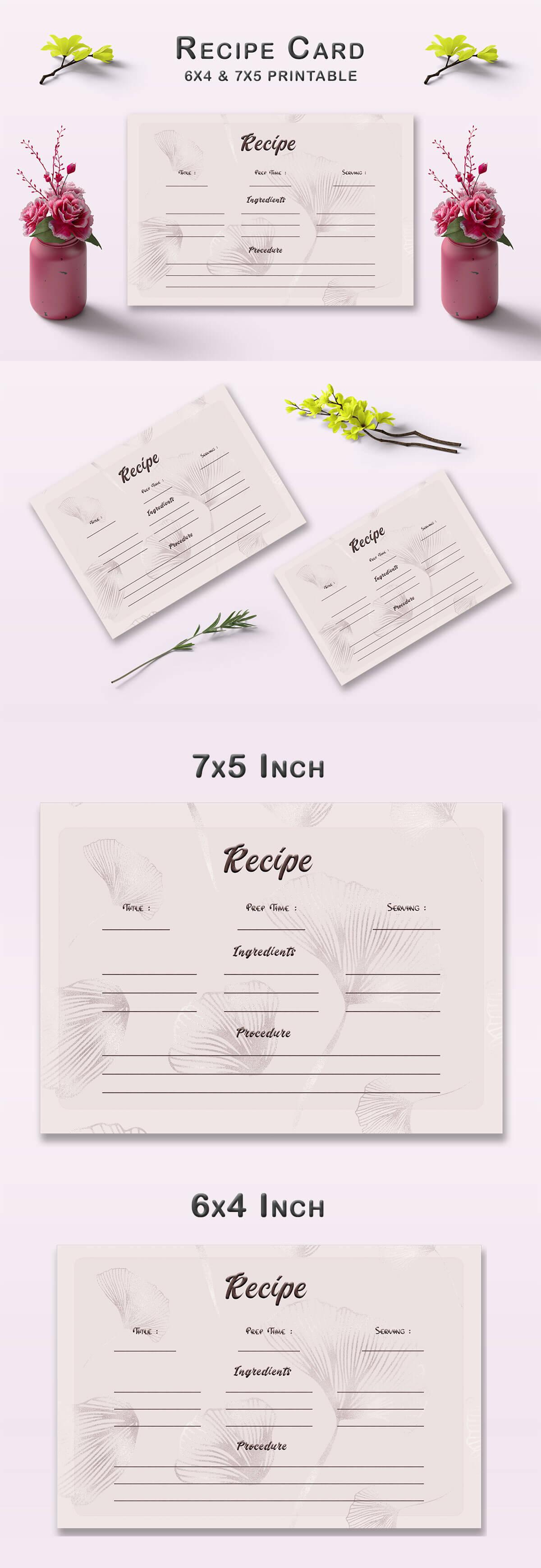 Free Flower Pattern Recipe Card Template V1