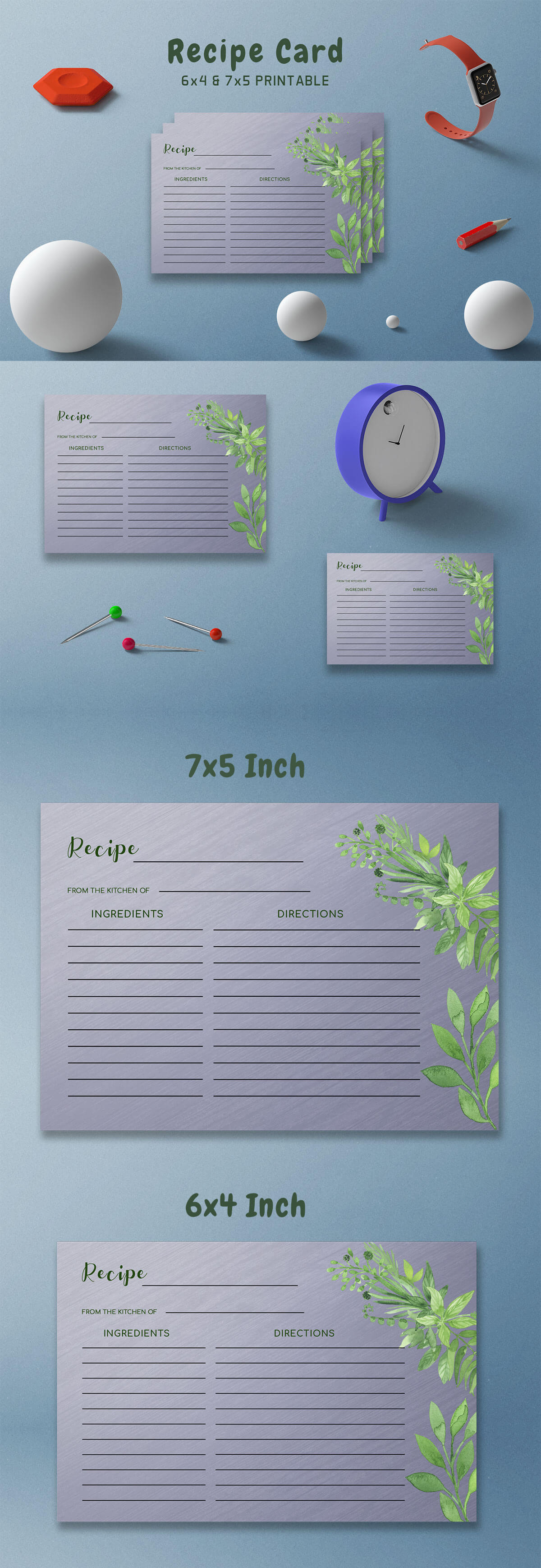 Free Green Floral Recipe Card Template