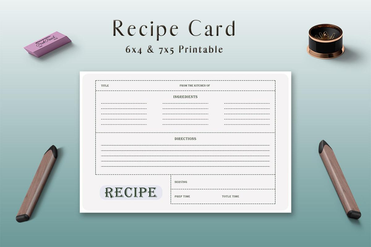 Free Grey Recipe Card Template