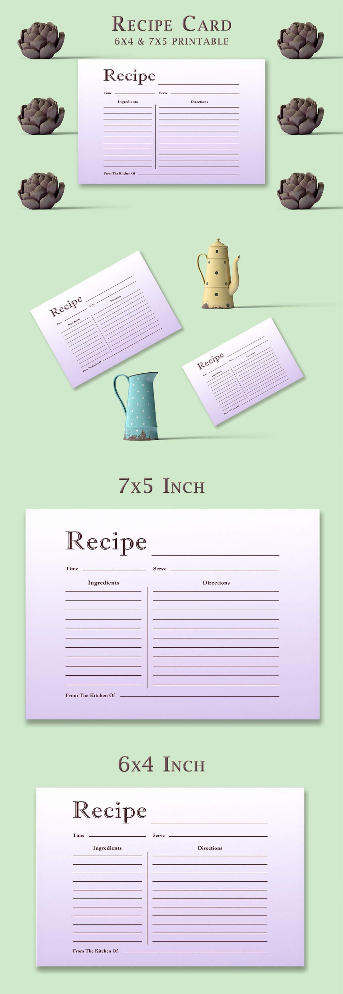 Free Light Purple Recipe Card Template