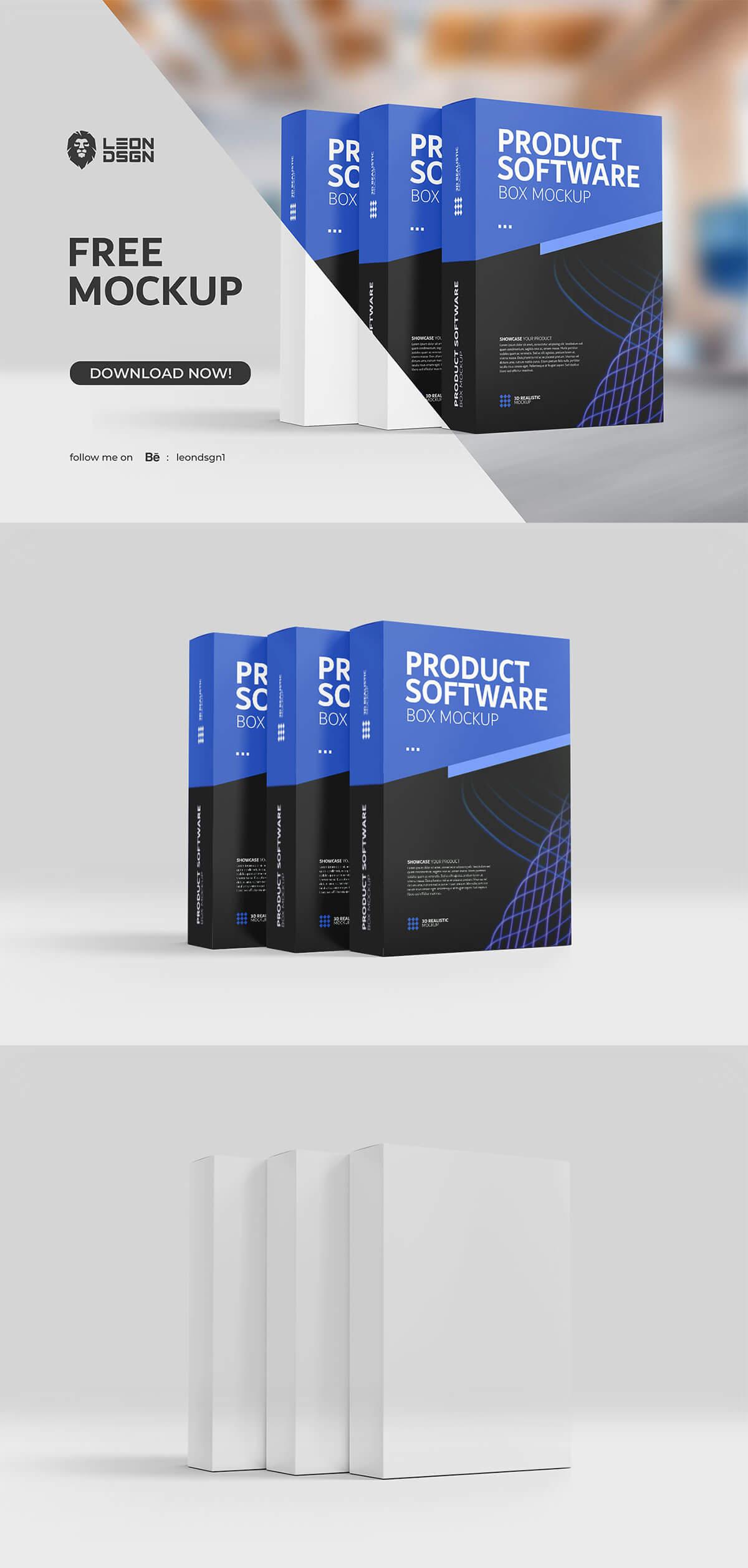 Free Product Software Box Mockup