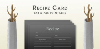 Free Simple Black Recipe Card Template