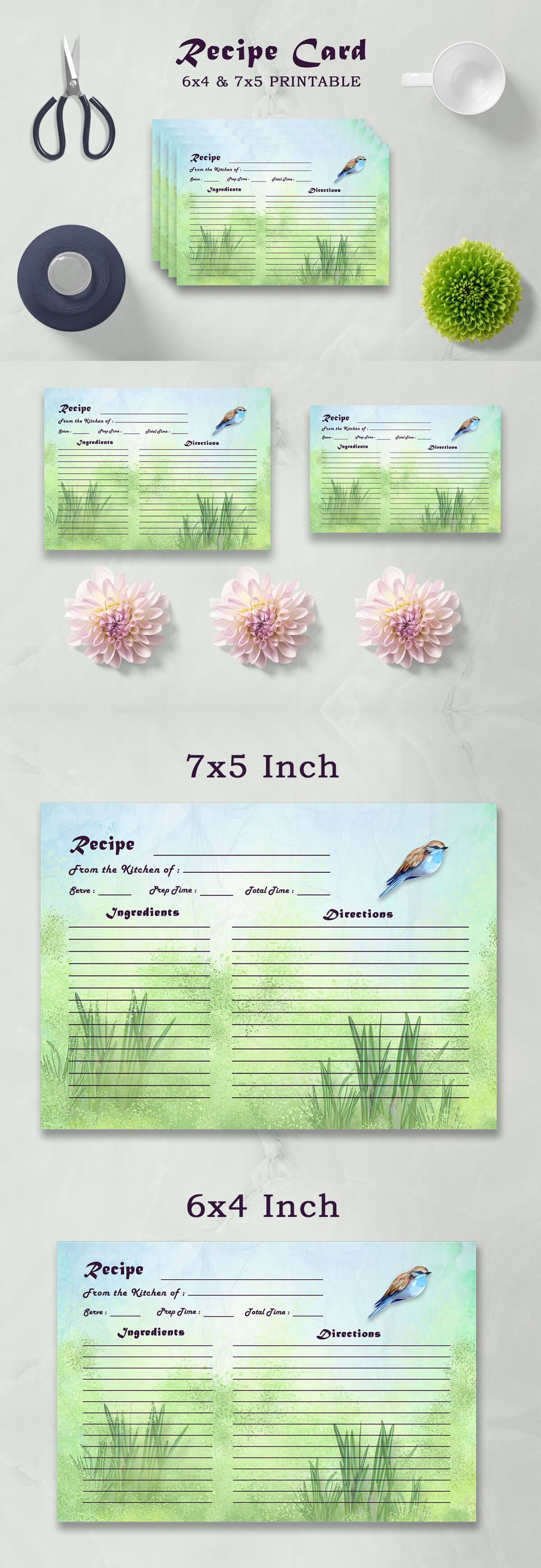 Free Sparrow Recipe Card Template
