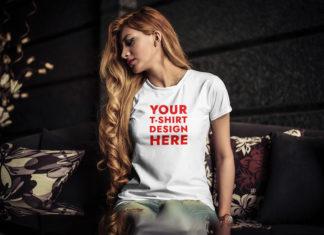 Free Young Woman T-Shirt Mockup