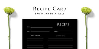 Free Dark Minimal Recipe Card Template V2