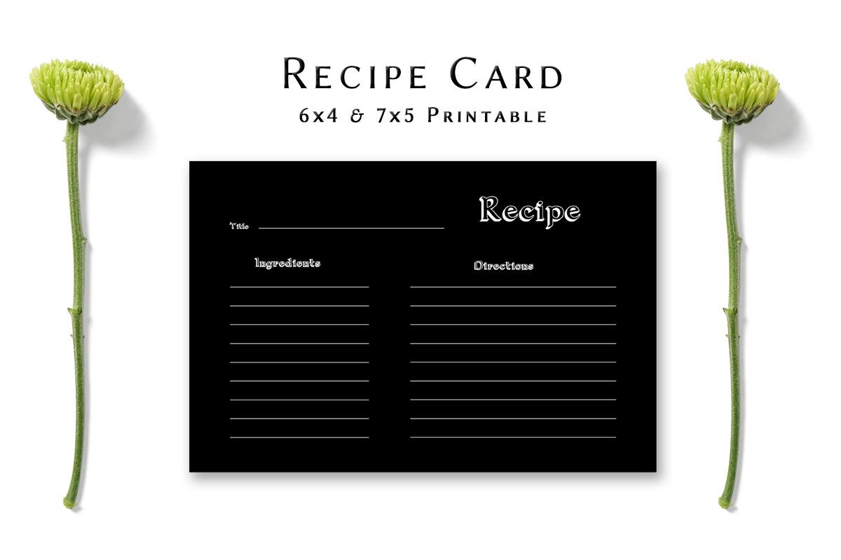 Free Dark Minimal Recipe Card Template