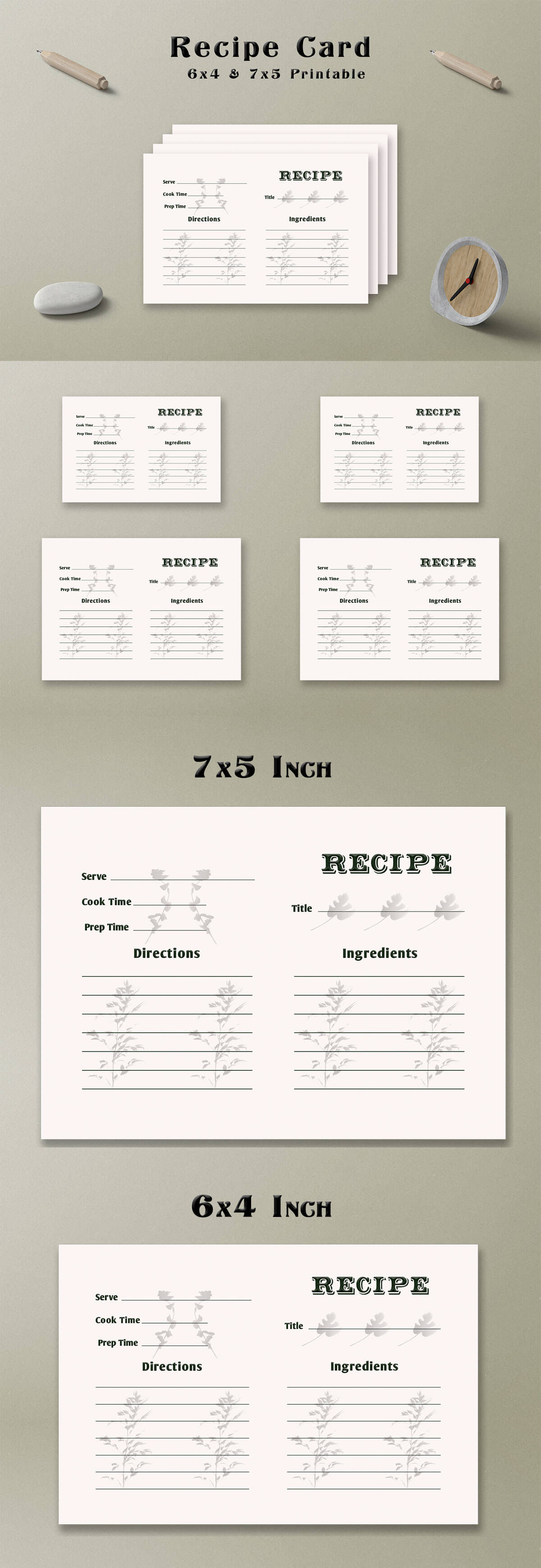 Free Floral Shadow Recipe Card Template