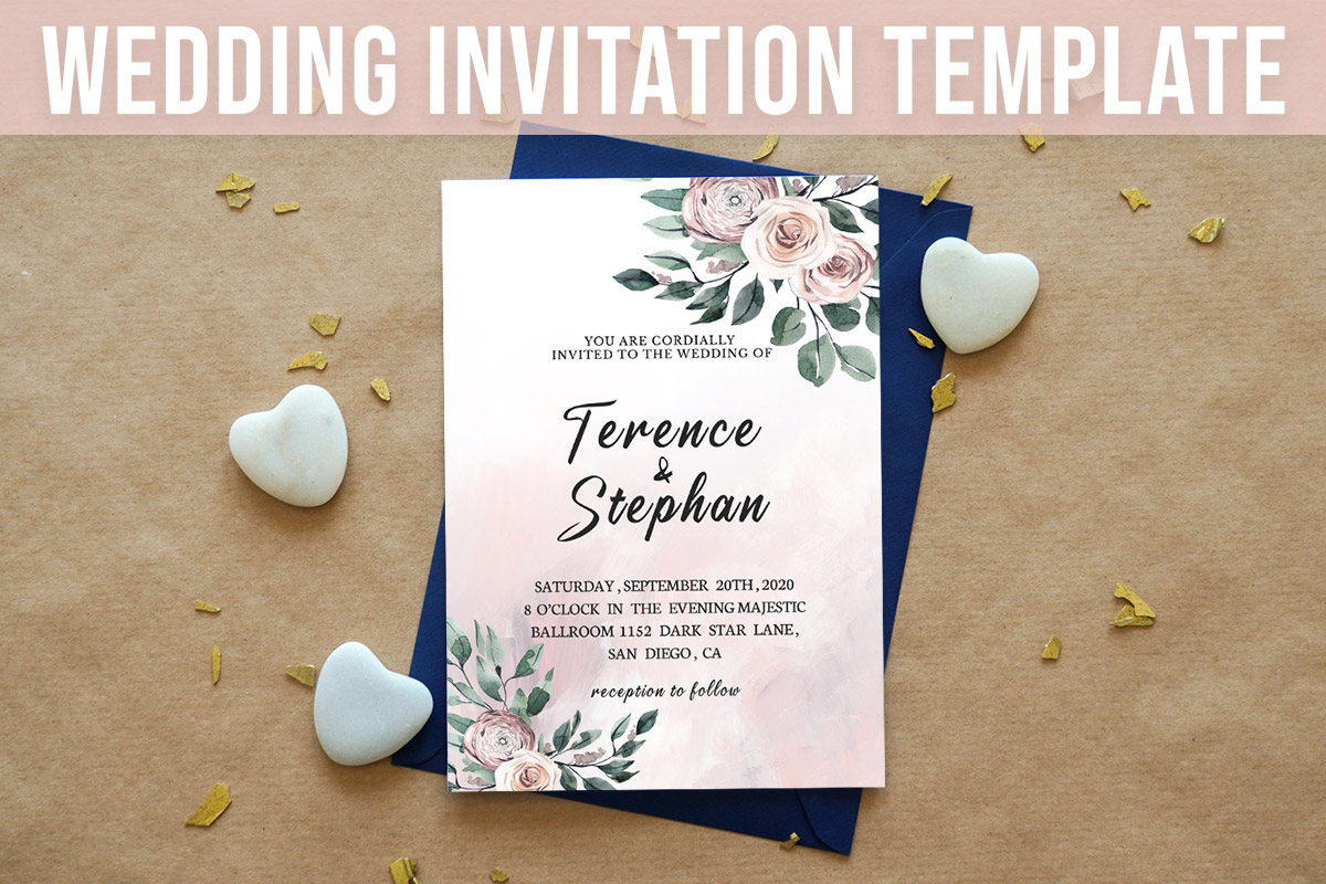 Free Floral Wedding Invitation Template ~ Creativetacos